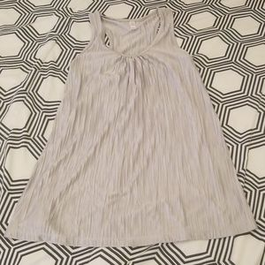 Xhiliration Silver Pleated Tank Top